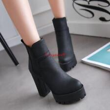 Womens lady Leather Elastic Thick Platforms High Chunky Heels Boots Shoes pumps