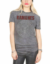 Ramones T Shirt Presidential Seal Official Womens New Grey Skinny Fit Burnout