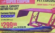 $299 COUPON Harbor Freight Motorcycle Lift Table Hoist COUPON ONLY exp 8/13/2017