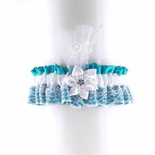 garter of satin & lace has flower for bride on wedding, Turquoise & white 0680