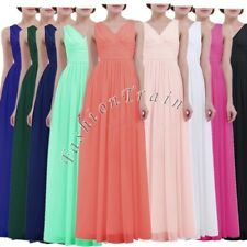 Sexy Womens Long Maxi Evening Formal V Neck Bridesmaid Party Cocktail Prom Gowns