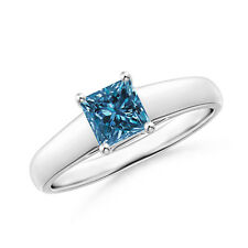 Princess Cut Enhanced Blue Diamond Solitaire Engagement Ring 14k White Gold