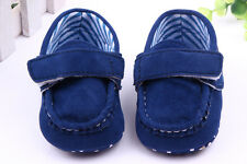 NEW Infant Baby Boy Suede Moccasins Mocs Loafer Shoes 3-6 12-18 months BLUE