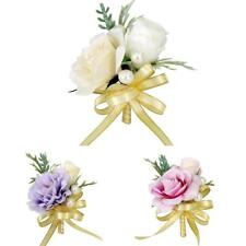Fabric Rose Flower Wedding Bride Corsage Groom Boutonniere Pin Accessories
