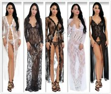 Sexy Women's Long Sleeve Dress Lace Lingerie Robe Sheer With G-String Clubwear