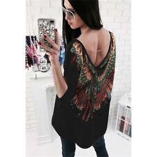 Women Feather Loose Oversized T shirt Turn up Backless Batwing Sleeve Tunic Top