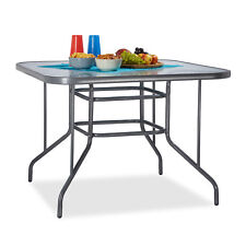 Glass Garden Table Patio Dining Table, Grey Metal Table with Glass Table Top