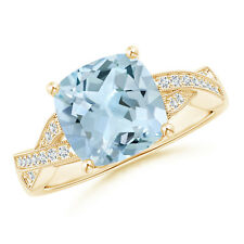Solitaire Cushion Aquamarine Criss Cross Ring with Diamonds 14k Yellow Gold