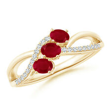 Oval Ruby Three Stone Bypass Ring with Diamonds 14k Yellow Gold/ 925 Silver