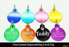 2 PCS/LOT !! FREE CUSTOM ENGRAVED PET TAGS 1-SIDED PERSONALIZED DOG CAT ID TAG