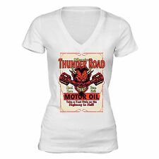 Genuine Thunder Road T-shirt Engine Devil Hard Core Route 66 American Oil Biker