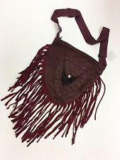 New Cotton Pleather Hippie Boho Festival Fringe Bag 3 colours Made in Nepal
