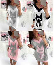 Womens Casual Long Sleeve V-Neck Oversize Loose  Ladies T Shirt Top Blouse Dress