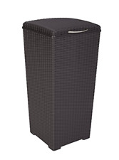 Outdoor Resin Wicker Waste Basket Trash Can with Liner Keter Pacific 30 Gal