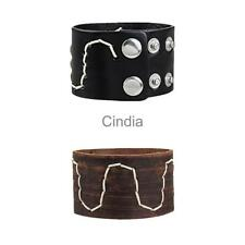 Men's Brown Black Wide PU Leather Cuff Bracelet Wrist Band Wristband Handmade