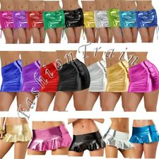 Sexy Women's Pleated Mini Skirt Shiny Metallic Liquid Wet look Party Clubwear