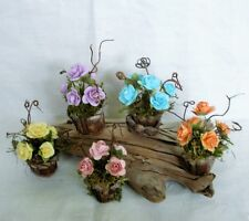 Fairy Garden Miniature Doll House ROSES in Pinecone FLOWER POT~ PICK A COLOR