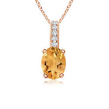 Solitaire Oval Citrine Pendant Necklace with Diamond in 14K Rose Gold/ Silver
