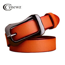 Womens Genuine Cowskin Leather Belts Luxury Designer Metal Pin Buckle Waistband