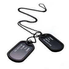 New Arrival Military Black 2 Dog Tags Chain Pendant Army Style Necklace Mens ...