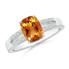 Cushion Cut Citrine Solitaire Ring with Diamond Accents 14k White Gold Size 3-13