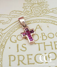 Delicate 9ct Rose Gold & Ruby Vintage Inspired Cross Necklace