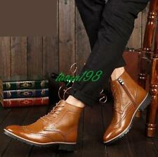 Mens chelsea carving brogue shoes wing tip lace up chukka oxford ankle boots