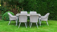 All Weather San Pedro Rattan Garden Furniture - Rectangle Dining Table 6 Chairs