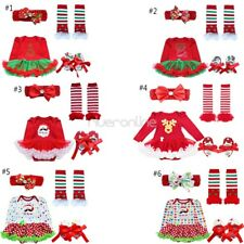 4Pcs Infant Baby Girl Halloween Christmas Tutu Romper Headband Outfits Costume