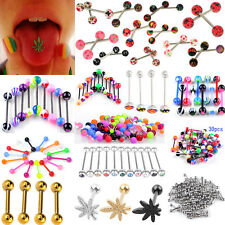 100× Tounge Rings Bars 316L Surgical Steel Barbell Body Piercing Jewelry Steady