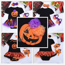 Baby Girls Halloween Party Pumpkin Outfits Romper Headband Shoes Set 0-12 Months