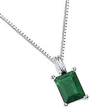 Pendant with Rectangular Emerald Cut Dark Green Crystal Sterling Silver Elements