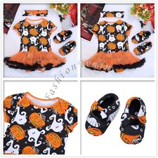 Baby Girl Halloween Pumpkin Outfits Romper Cosplay Costumes Headband Shoes 0-12M