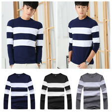 Stripe Men's Shirts Mens Slim T-Shirt O Neck T Casual T Shirts Long Sleeve 1Pcs