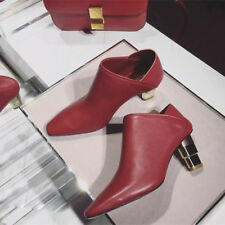 Women Burgundy High Heels Ankle Boots Leather Slingback Shoes Chelsea Booties