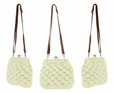 Women Fashion Straw Material White Color Handmade Beach Shoulder Bag
