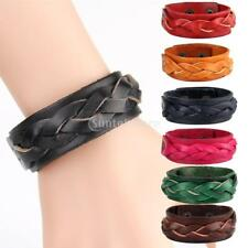 Vintage Leather Bracelets Braided Dual Layer Bangles Snap Button Jewelry 23cm