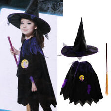 1 Set Halloween Kid Spider Web Witch Cape Hat Broom Costume Cloak Party Dress Up