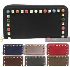 NEW STUDDED FAUX LEATHER ZIPPED POCKET CARD SLOTS WOMENS LADIES PURSE