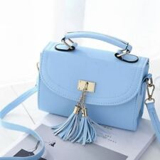 Women Tassel Decorated Mini Pu Leather Casual Solid Color Shoulder Bag