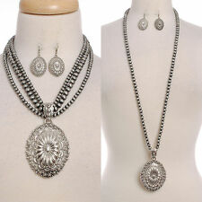 Necklace Earrings Concho Set Chunky Silver Pendant Navajo Pearl Lead Compliant