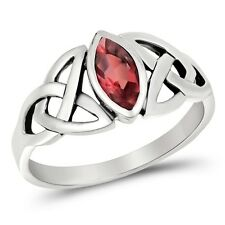 925 Sterling Silver Celtic Trinity Triquetra Knot Ring Ruby CZ  Sz 5-10