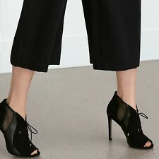 ZARA Black Leather Ankle Boots Lace-Up High Heel Shoes Woman BNWT 6 7 1205/101