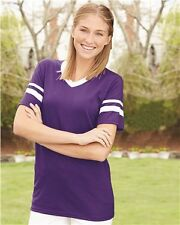 Augusta Sportswear V-Neck Jersey with Striped Sleeves 360 S-XL T-Shirts
