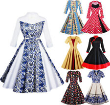 Retro Women's 50s 60s Rockabilly Pinup Dress Swing Evening Party Dancing Dress