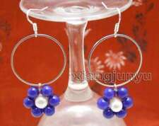 SALE Fashion Blue Jade and white pearl & 28mm metal Ring Dangle Earring-ear613