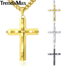 Curved Cross Pendant Necklace Mens Chain Gold Silver Stainless Steel Curb Link