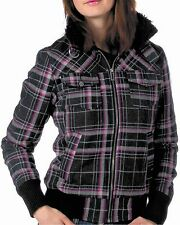 New FOX Racing Women's Jrs Black Plaid Knit Sherpa Charlene Zip Jacket Coat $85