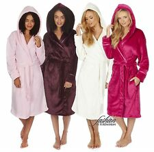 Luxury Womens Hooded Soft Fleece 3/4 Length Bath Dressing Gown Robe Plus Size