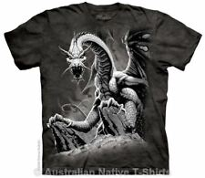 Black Dragon T-Shirt in Adult Sizes - Fantasy Art by The Mountain T-Shirts